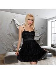 Fashion Mini Jurk met Kanten Bovenlaag Zwart