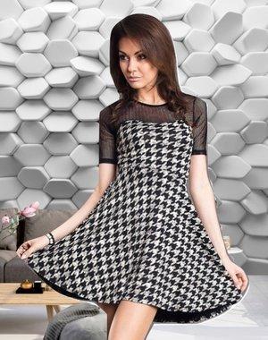Elegante Fashion Jurk Zwart / Wit