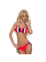 Bandeau Bikini Set met Ruffles Neon Rood