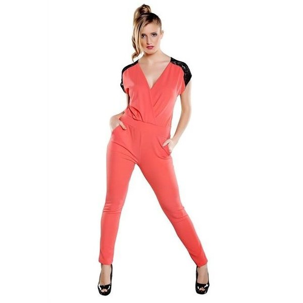 V-hals Lange Fashion Jumpsuit Coral