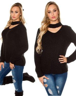 Grof Gebreide Mohair Pullover Zwart