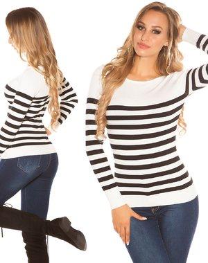 Fashion Trui in Strepen Patroon Wit / Zwart