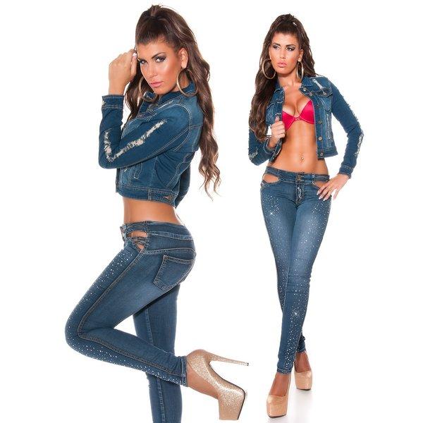 Trendy Koucla Jeans Jasje in Gewassen Look