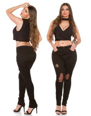 Trendy jeansbroek in Vernietigd Look Zwart