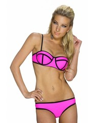 Beugel Bikini Set met Streep Design Fuchsia