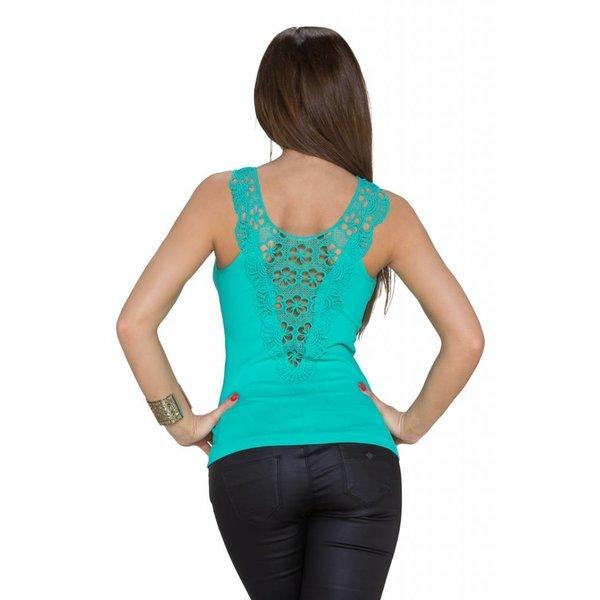 Leuk Topje met Geborduurde Rug Turquoise Groen
