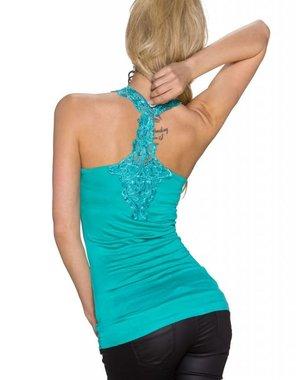 Fashion Topje met Kant Afwerking Turquoise Groen