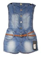 Korte Strapless Jeans Jumpsuit Blauw