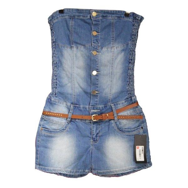 Redseventy Korte Strapless Jeans Jumpsuit Blauw