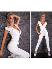 Lange Fashion Jumpsuit met Ritssluiting Wit