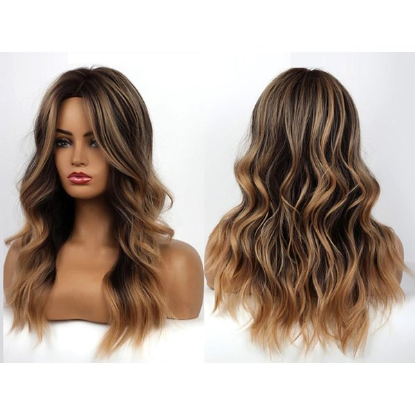 Lange Pruik Mixed Balayage Golvend Haar