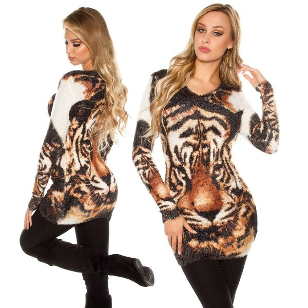 Knuffelzachte Fashion Lange Pullover Wit / Bruin
