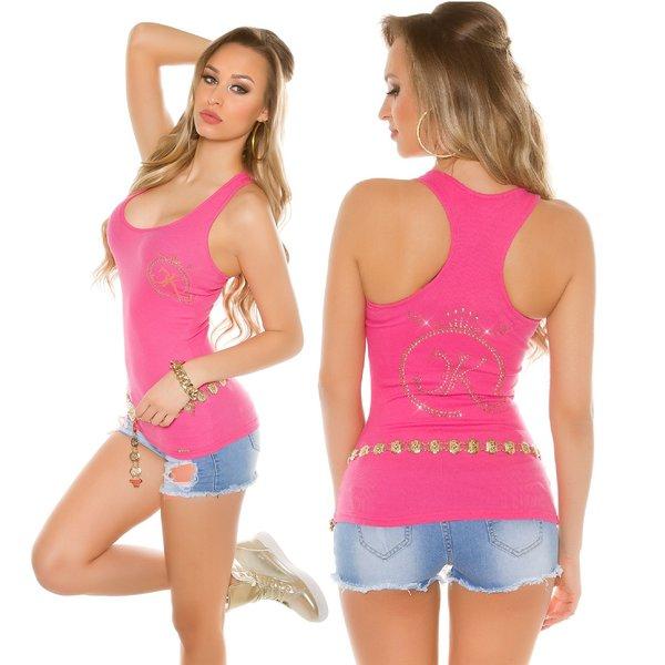Fashion KouCla Topje met Strass Versiering Pink