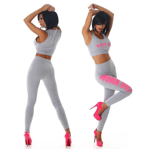 2-Delige Topje + Legging Grijs / Pink