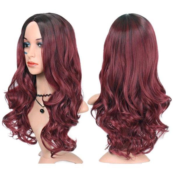 Lange Pruik Ombre Bordeaux Golvend Haar