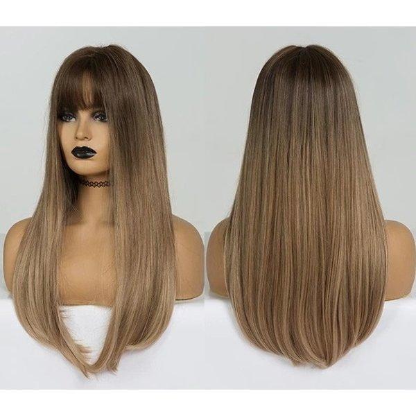 Lange Pruik Ombre Blond Steil Haar