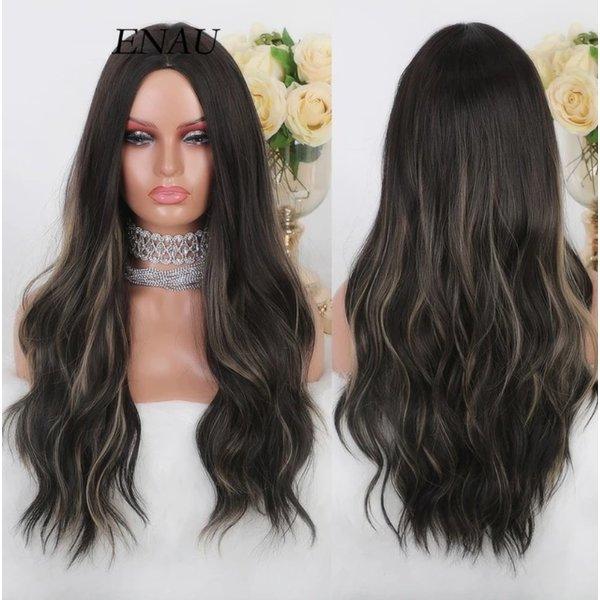 Lange Pruik Golvend Bruin Haar