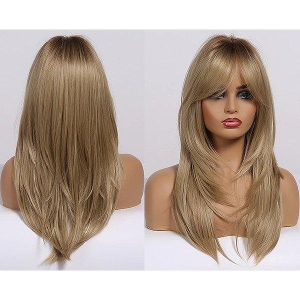 Lange Pruik Ombre Gelaagd Haar