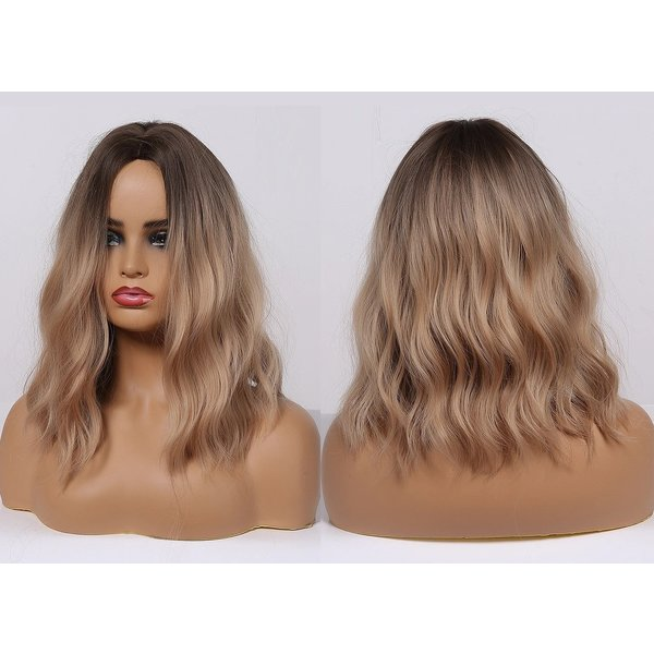 Halflange Pruik Golvend Ombre Blond Haar