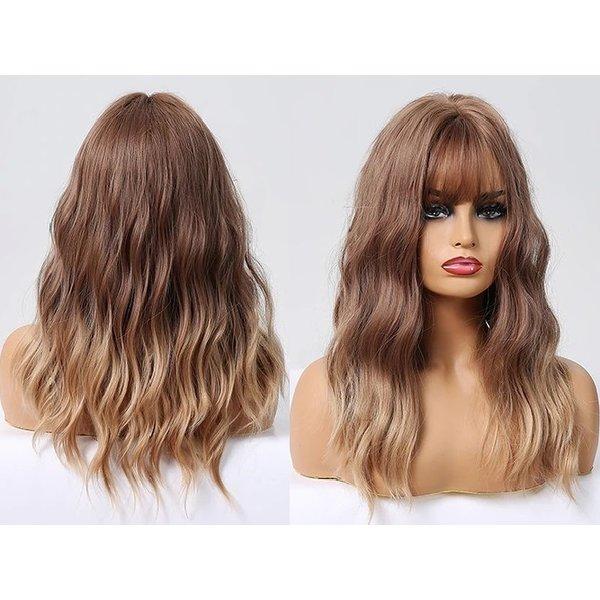 Halflange Pruik Golvend Ombre Mix Bruin Haar