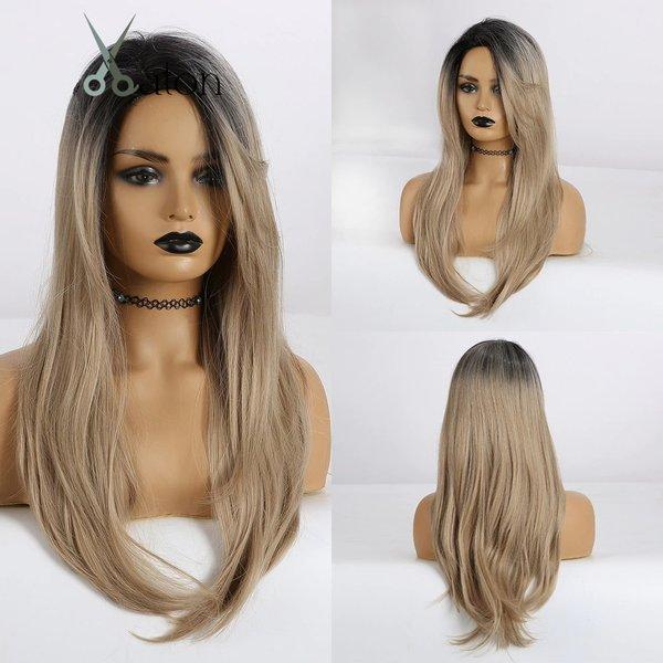 Lange Pruik Ombre Steil Haar