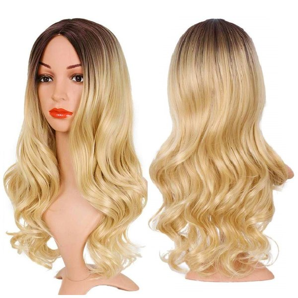 Lange Pruik Ombre Blond Golvend Haar