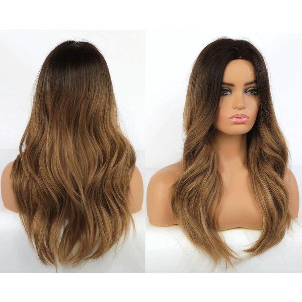 Lange Pruik Ombre Mix Bruin Golvend Haar