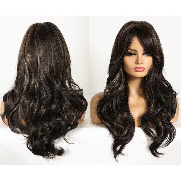 Lange Pruik Golvend Donker Bruin Haar