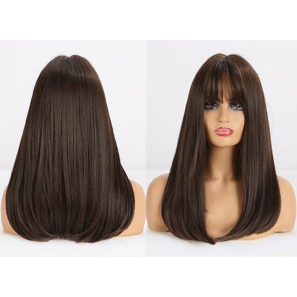 Lange Pruik Bruin Steil Haar