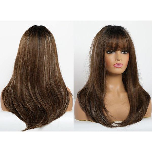 Lange Pruik Ombre Bruin Haar