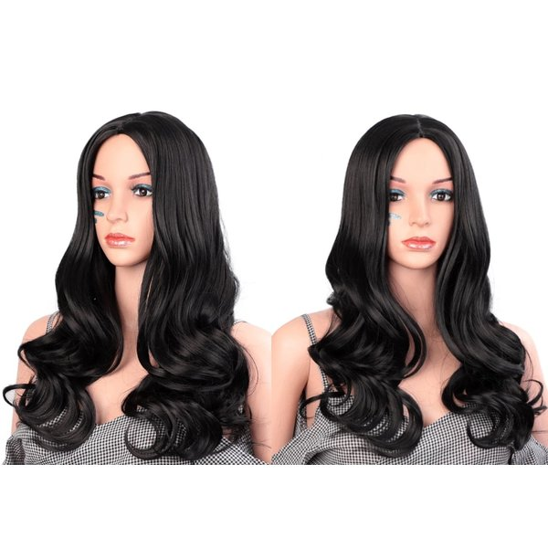 Lange Pruik Golvend Zwart Haar