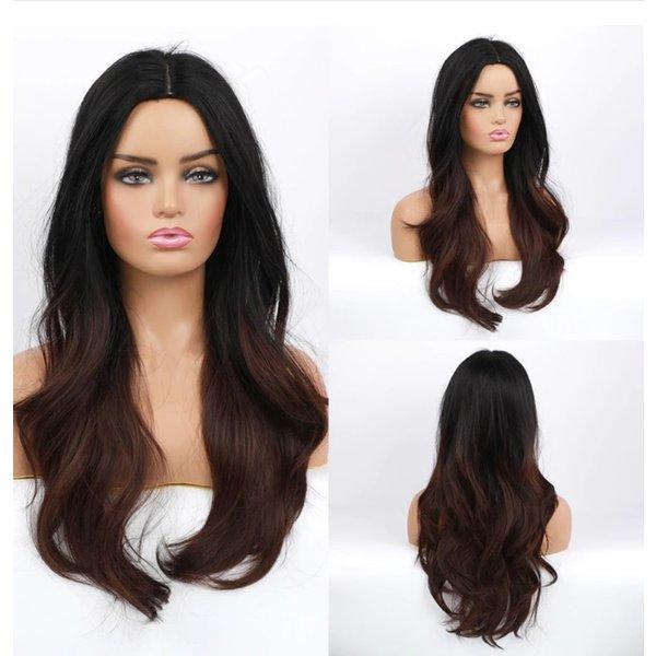 Lange Pruik Golvend Ombre Mix Bruin Haar