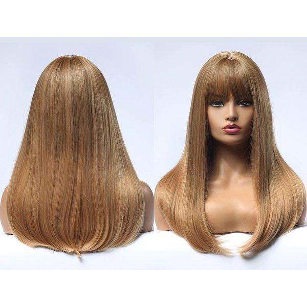 Lange Pruik Donker Blond Haar