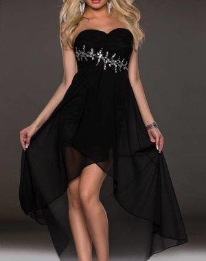 Elegante Asymmetrische Avondjurk Zwart