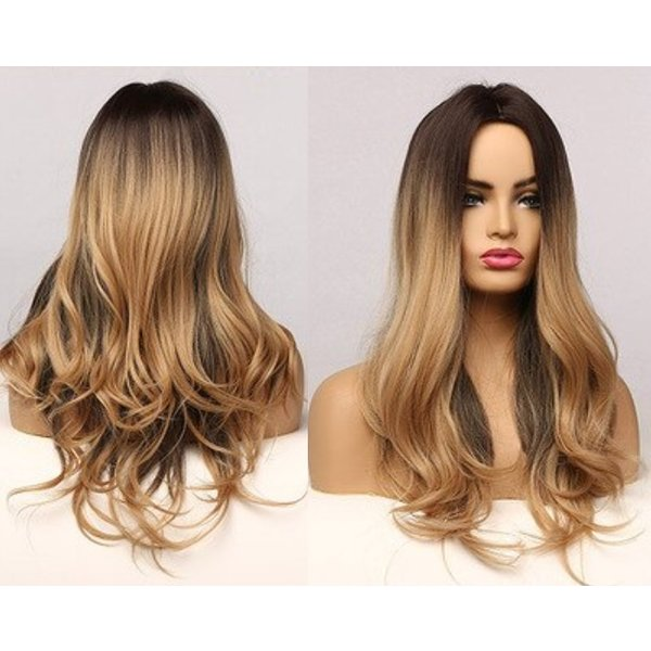 Lange Pruik Golvend Ombre Mix Blond Haar