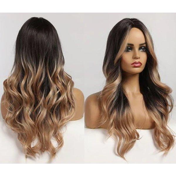 Lange Pruik Ombre Golvend Haar