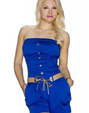 Korte Strapless Fashion Playsuit Royal Blauw