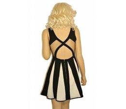 Fashion Mini Jurk in Contrast Kleuren Zwart / Wit