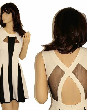 Fashion Mini Jurk in Contrast Kleuren Wit / Zwart