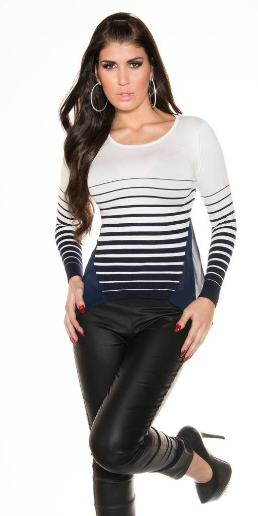 Trui Met Blouse.Fashion Trui Blouse Met Strikje Navy Blauw Fashion Of M
