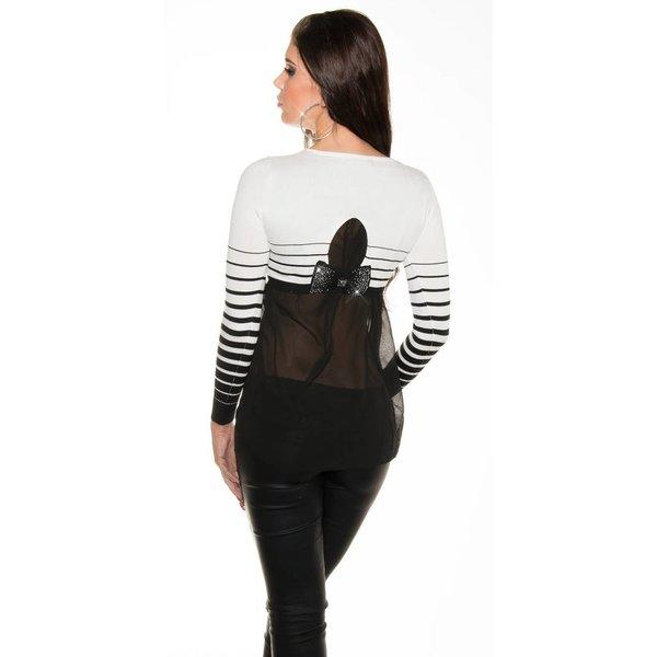 Fashion Trui / Blouse met Strikje Wit / Zwart
