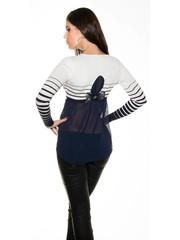 Fashion Trui / Blouse met Strikje Navy Blauw