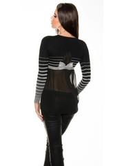 Fashion Trui / Blouse met Strikje Grijs / Zwart
