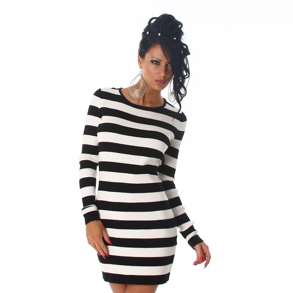 Lange Trui Zwart.Lange Trui Mini Jurk Met Strepen Wit Zwart Fashion Of M