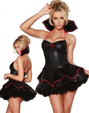Vampire Queen Kostuum Zwart - Rood