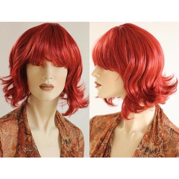 Halflange Pruik Rood Haar