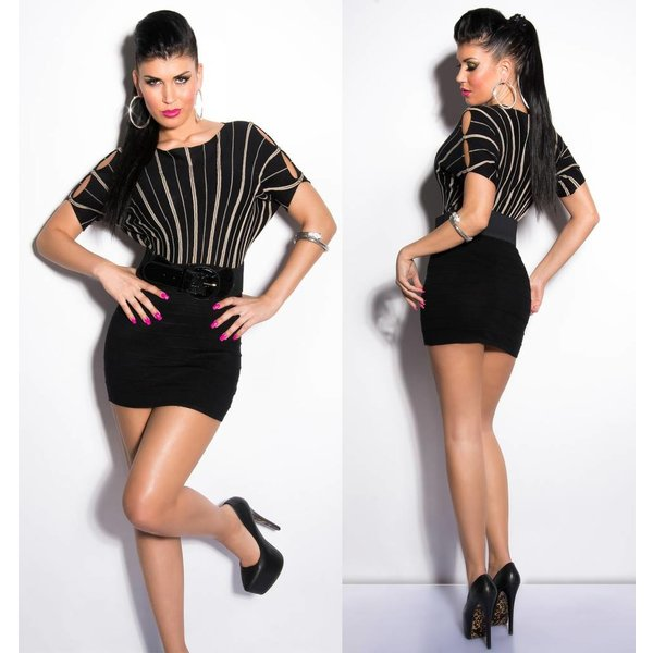 Gebreide Fashion Mini Jurk met Riem Zwart