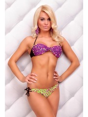 Gedraaide Multicolor Bikini Purple / Groen