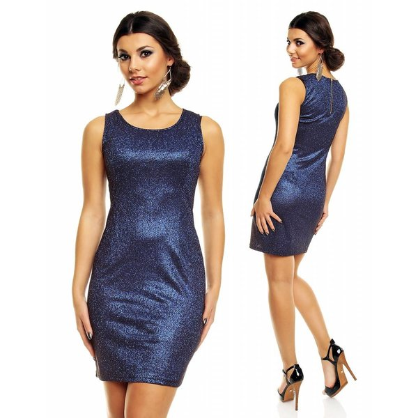 Glitterende Fashion Mini Jurk Blauw