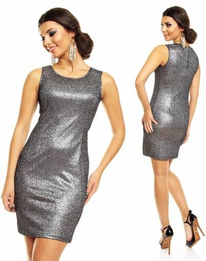 Glitterende Fashion Mini Jurk Zilver